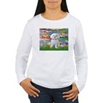 Lilies (2) & Maltese Women's Long Sleeve T-Shirt