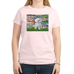Lilies (2) & Maltese Women's Light T-Shirt