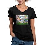 Lilies (2) & Maltese Women's V-Neck Dark T-Shirt