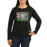 Lilies (2) & Maltese Women's Long Sleeve Dark T-Sh