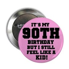 Pink 90th Birthday Button