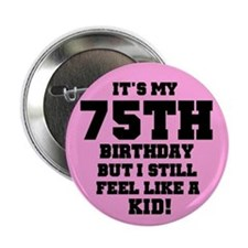 Pink 75th Birthday Button