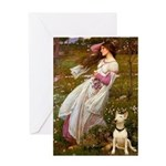 Windflowers Bull Terrier Greeting Card