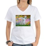 Garden / Maltese Women's V-Neck T-Shirt