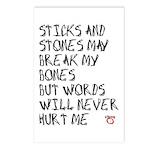 Sticks and Stones May Break My Bones Postcards (Pa
