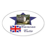 Caravan Cutie Flag Oval Sticker