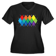 Rainbow Argyle Women's Plus Size V-Neck Dark T-Shi