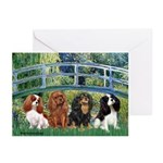 Bridge & 4 Cavaliers Greeting Cards (Pk of 20)