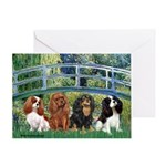 Bridge & 4 Cavaliers Greeting Card