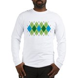 Green and Blue Argyle Long Sleeve T-Shirt