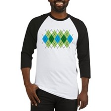 Green and Blue Argyle Baseball Jersey