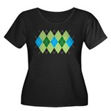Green and Blue Argyle Women's Plus Size Scoop Neck