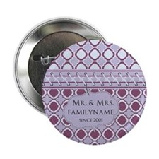 "Magenta Quatrefoil Mr. and 2.25"" Button (100 pack)"