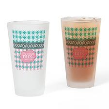 Pink Teal Quatrefoil Future Mrs. Pe Drinking Glass