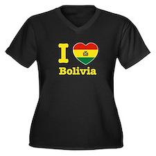 I love Bolivia Women's Plus Size V-Neck Dark T-Shi