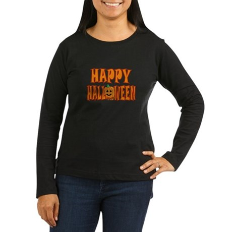 Pumpkin Happy Halloween Women's Long Sleeve Dark T