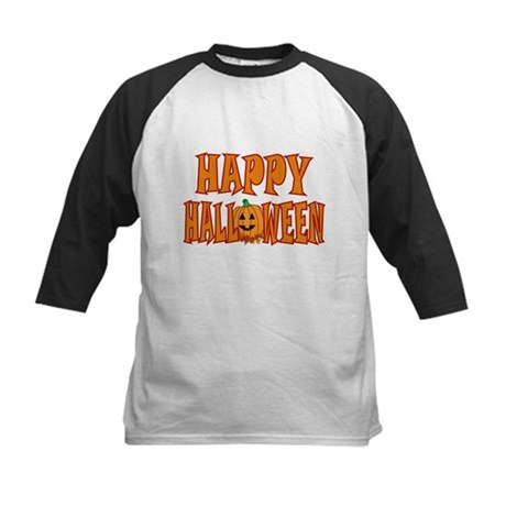 Pumpkin Happy Halloween Kids Baseball Jersey