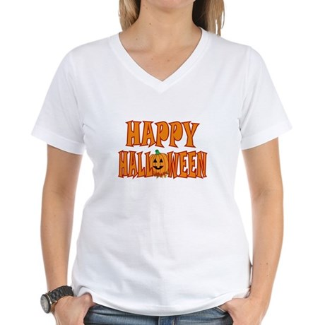 Pumpkin Happy Halloween Women's V-Neck T-Shirt