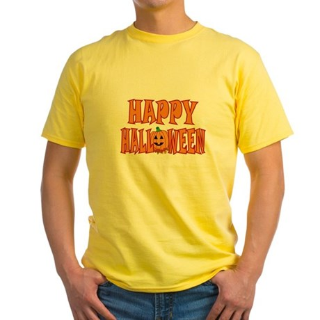 Pumpkin Happy Halloween Yellow T-Shirt