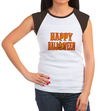 Pumpkin Happy Halloween Women's Cap Sleeve T-Shirt
