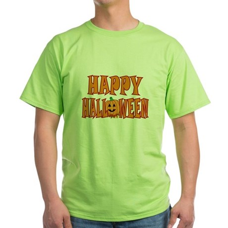 Pumpkin Happy Halloween Green T-Shirt