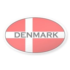 Danish Flag with text Oval Decal