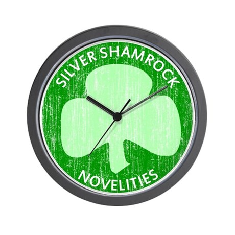 Silver Shamrock Wall Clock