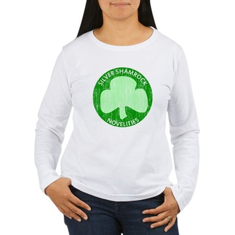 Silver Shamrock Womens Long Sleeve T-Shirt