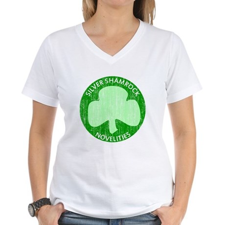 Silver Shamrock Womens V-Neck T-Shirt