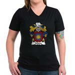 Solana Family Crest Women's V-Neck Dark T-Shirt