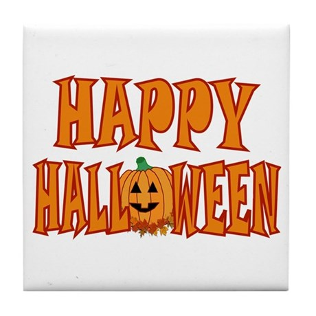 Happy Halloween Pumpkin Tile Coaster