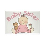 Baby Sister & Teddy Rectangle Magnet