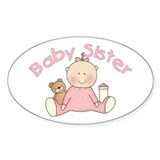 Baby Sister & Teddy Oval Bumper Stickers