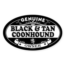 BLACK AND TAN COONHOUND Oval Decal