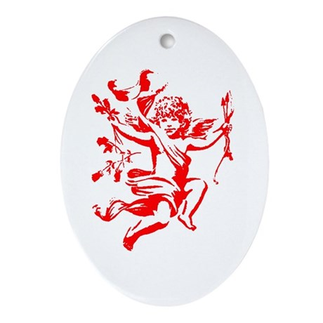 Vintage Cupid Oval Ornament