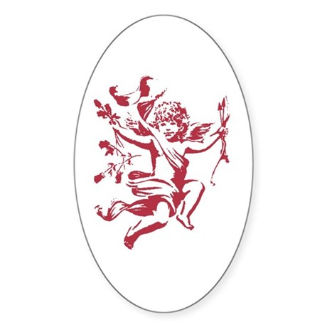 Vintage Cupid Oval Sticker