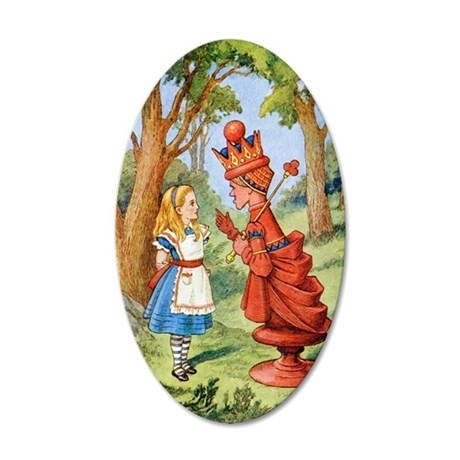 Alice and the Red Queen in W 35x21 Oval Wall Decal