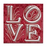 Valentine LOVE n Red Lace Tile Coaster