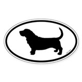Oval Basset Hound Decal