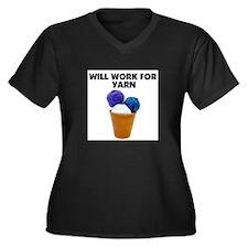 Will Work for Yarn Women's Plus Size V-Neck Dark T