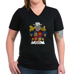 Lama Family Crest Women's V-Neck Dark T-Shirt