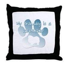 Keeshond Granddog Throw Pillow