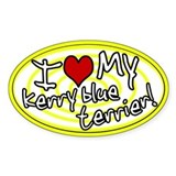 Hypno I Love My Kerry Blue Oval Sticker Ylw