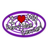 Hypno I Love My Kerry Blue Oval Sticker Purple