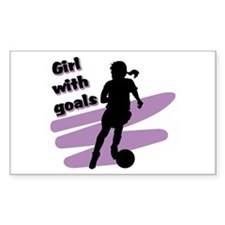 Girl with goals Rectangle Decal