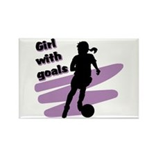 Girl with goals Rectangle Magnet (100 pack)