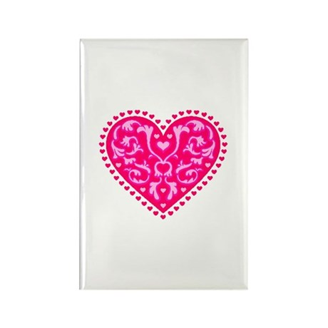 Fancy Heart Rectangle Magnet