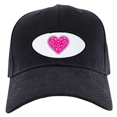 Fancy Heart Black Cap