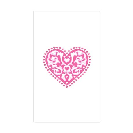 Fancy Heart Rectangle Sticker