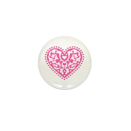 Fancy Heart Mini Button (10 pack)